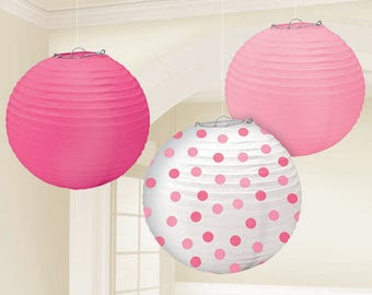 Set Of Three 9 1/2 Inch Sweet Pinks & Polka Dots Paper Lanterns - Wedding - Anniverary - Birthday - Baby Shower - All Occasion Party Decor