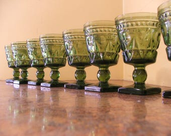 Vintage Set of Eight (8) Vintage 1960s Indiana Glass / Tiffin Green Colony Park Lane Wine Goblets