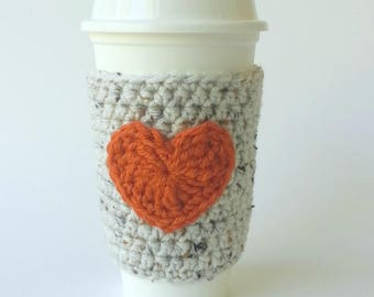 Coffee Sleeve - Coffee Cozy - Staff Appreciation - To Go Cup Sleeve - Reusable Coffee Sleeve - Heart Cozy -Valentine's Gift