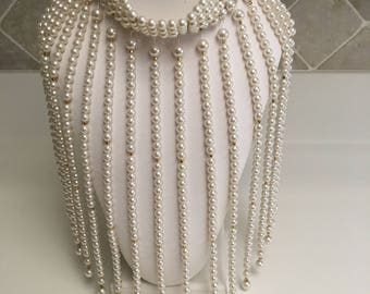 Cleopatra Style Choker Statement Faux Pearls Waterfall Dangles Collar Necklace Bold & Beautiful
