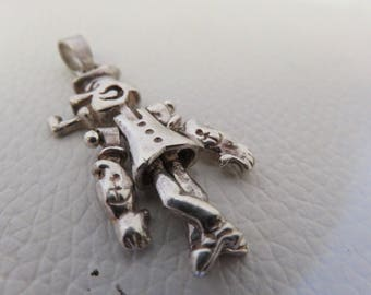 Vintage Popeye Charm Pendant Sterling Silver Moving 925 Articulated Mechanical