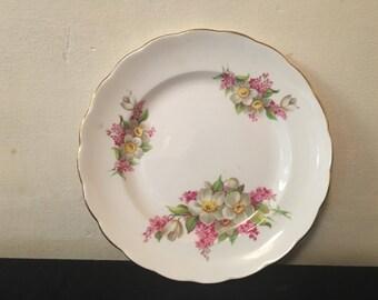 5 bone china floral tea plates vgc