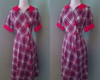 1950's Tartan Plaid Cotton Day Dress