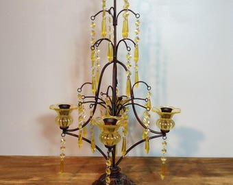 Vintage Candelabra with Amber Glass Candle Holders and Acrylic Drops / Metal and Amber Crystal Prism Candle Holder / Table Top Candelabra