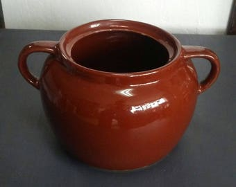 Brown Bean Pot, Vintage Bean Pot, Bean Pot, Pottery Bean Pot, Small Crock, Brown Crock, Stoneware Crock, Vintage Crock, Crockery Bean Crock