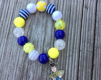 Woody Charm Bead Bracelet // Beaded Bracelet // Stretch Bracelet // Wrist Candy // Kid Bracelet // Toy Story