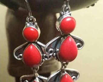 Holiday SALE 85 % OFF Red Coral   Earrings .925 Sterling Silver Gemstone