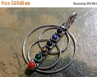 Holiday SALE 85 % OFF Onyx Tiger Eye Coral amethyst lapis Lazuli Multistone  Pendant Gemstones  . 925 Sterling Silver