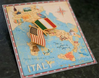 Italy & USA Flag Pin / Tie Tack / Lapel Pin / Country Flag Pin