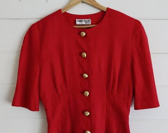 1980s Structured Red Linen Dress w/ Gold Buttons by Ronnie Heller MJ - Size: