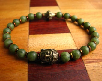 3764- Yoga Bracelet Bouddha, Labradorite, Hematite