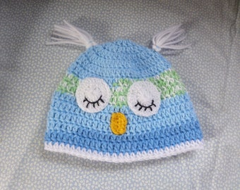 babies hat, 3 to 9 months, owl beanie hat, hand crochet, blue green white, sleeping eyes, ear tufts, other sizes made, photo shoot item,