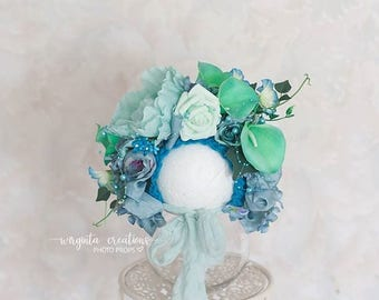 Flower bonnet for newborn. Mint, green, turquoise. Photo prop. Ready to send