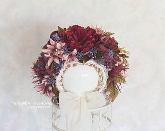 Flower bonnet for 12-24 months old baby. Vintage style. Dusty pink, burgundy.Photo prop. Ready to send