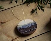 Tree Slice Christmas Ornament- Banff Canadian Rockies, Rustic tree decoration, Wood slice ornament on Canadian Spruce