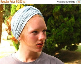 SALE PALE BLUE Hair Wrap,Extra Wide Jersey Head Scarf,Workout Accessory,Yoga Headband,Bohemian Hair Accessories,yoga headwrap,yoga gift idea