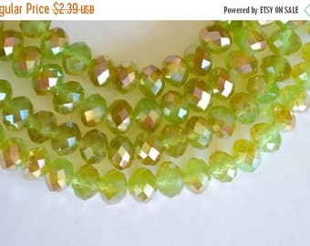 15% off SALE Light Green, Half Coat Metallic Crystal Beads, Chinese Crystal, Faceted Crystal Rondelle Beads, Green, Bronze 8x10mm, 12 beads,