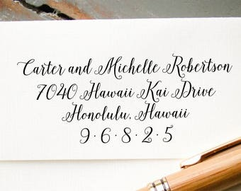 Calligraphy Return Address Stamp, Self Inking Calligraphy Address Stamp, Personalized Address Stamp, Housewarming Gift, Wedding Invitation