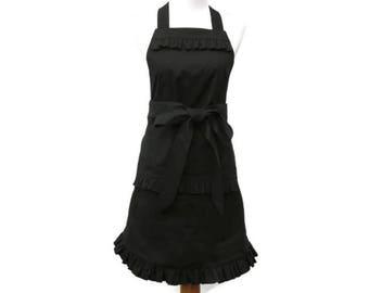 Plus Ruffled Black Apron, Plus Solid Black Apron, Plus Size Ruffled Black Apron, X-Large Dressy Black Apron, Plus Personalized Apron