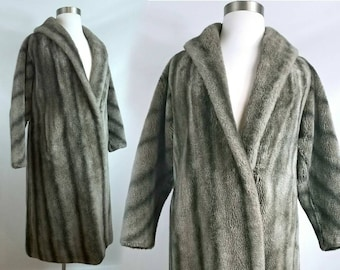 Mid-century Faux Fur Long Winter Coat Gray and Brown Stripes Plus Size Swing Coat