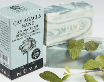 Nuve Tea Tree Spearmint Soap - Handmade Aromatherapy Herbal Collection - All Natural With Olive Oil (110 gr. / 4 oz.)