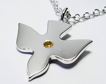 Sterling silver dove pendant silver dove charm peace charm citrine flying dove necklace pendant in sterling silver sterling silver dove necklace sterling silver mozeypictures Image collections