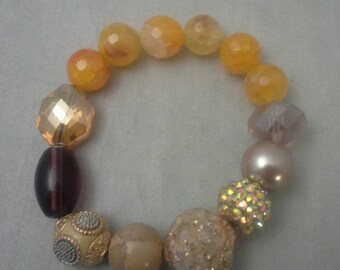 Beaded Bracelet, Stretch Bracelet, Women's Bracelet Gift, Glass Bead Bracelet, Gemstone Bead Bracelet, Agate Beads
