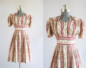 RESERVED.... Vintage 1940s Dress / 40s Cotton Dress / Walco Garment Co Red Floral and Checkered Dress S/M