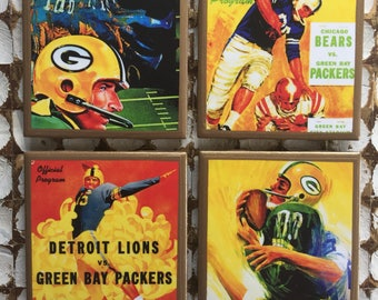 COASTERS! Green Bay Packers vintage program covers coasters with gold trim