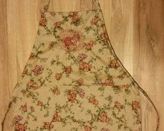 Super mom handmade green flowered embroidered apron