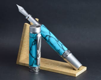 Hand made Imperial fountain pen in Turquoise stone.