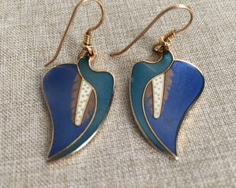 "Laurel Burch Signed ""Calla Lily"" Dangle Earrings"