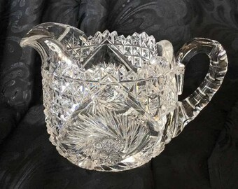 Antique American Cut Glass Creamer with Hobstars, Pinwheels, and Sawtooth Edge - Possible American Brilliant Period Cut Glass (1876 to 1916)
