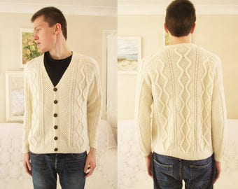 Men's hand knitted aran cardigan Men's traditional cream aran jacket Hand knitted soft acrylic cardigan Men's creamcabled handknit sweater S