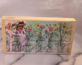 Flowers of My Garden Large Rubber Stamp by Stamps Happen The Tapestry Studio Collection