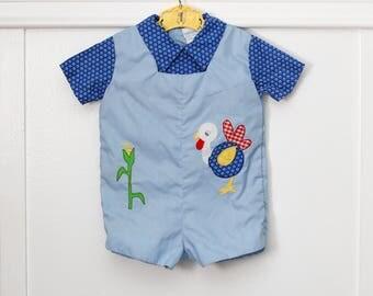 12 months: Turkey Appliqued Romper Suit, Little Boy JonJon, Farm Theme, by Nannette