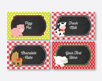 Instant Download, Editable Farm Friends Food Labels, Red Barnyard Food Labels, Food Tags, Buffet Card, Table Tents, Chalkboard (CKB.55)