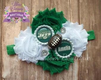 New York Jets Personalized Baby Headband, Jets Baby Girl, Jets Girl Bow, Jets Girl Shirt, NY Jets Football Bow, NY Jets Football Headband