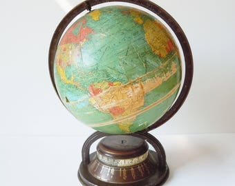 "Globe / Rare 9"" Wind-up Version / Vintage beauty /  Copper toned Base / Day and Night / Clockwork Mecahism"