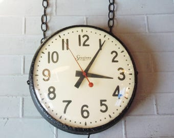 School Clock / Vintage Wall Clock with Chains / Sessions / Old School / Old Paint