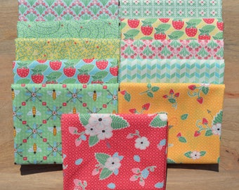 Bumble Berries Fat Quarter Bundle - The Jungs - Moda - 11 fat quarters  100% Cotton-strawberries, blue, pink, yellow, red, green, white