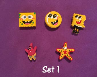 5-pc Spongebob SquarePants Shoe Charms for Crocs, Silicone Bracelet Charms, Party Favors, Jibbitz