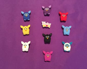 10-pc Furby Boom Shoe Charms for Crocs, Silicone Bracelet Charms, Party Favors, Jibbitz
