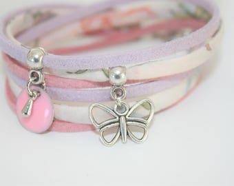 "Bracelet lucky charm ""Bohemian travel"" pastel pink"