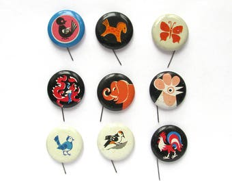 Animals, Pick your pin, Children's badges, Bird, Dragon, Horse, Vintage metal badge, Soviet Vintage Pin, Soviet Union, Made in USSR, 1980s