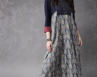 Beautiful grayish and blue kurta.