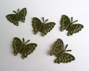 5 Butterfly applications to sew in green satin and pearls