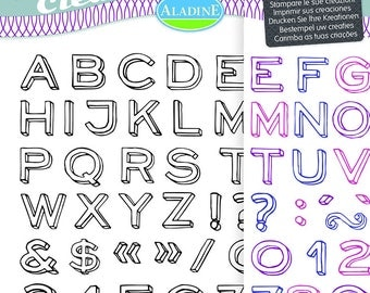 54 pieces - themed Alphabet, number, punctuation Neo Clear stamps
