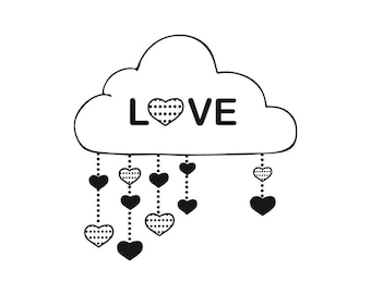 Wooden heart in the clouds rubber stamp