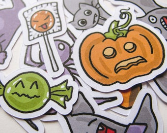 Halloween Stickers, Spooky Stickers, Journaling, Sticker Flakes, Stationery, Scrapbooking, Paper Stickers, Pumpkin, Bat, Cat, Candy